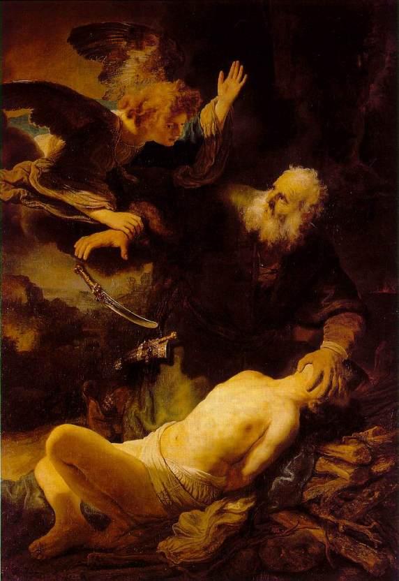 Rembrandt, Isaac, Abraham, sacrifice, faith, righteous, what does God want, Demanding God, merciful God, mercy, angel, knife