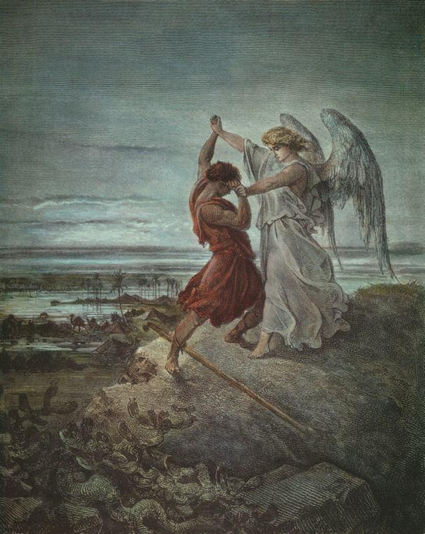 Jacob, angel, wrestle, Dore, art, wrestling