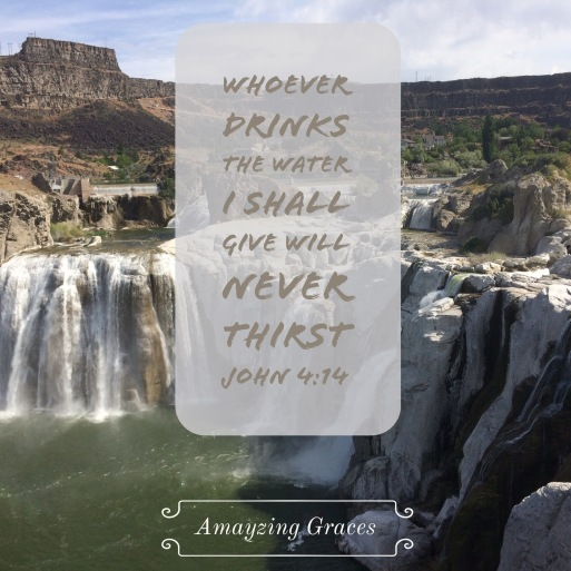 Whoever drinks the water I shall give will never thirst, John 4:14, Karen May, Amayzing Graces