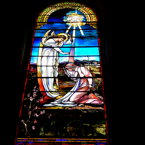 The Annunciation stained glass, Karen May, Amayzing Graces, inspirational blog