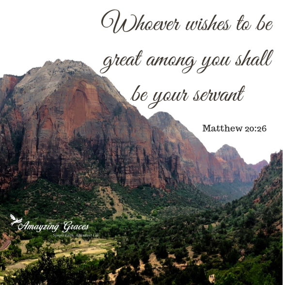 Whoever wishes to be great among you shall be your servant, Matthew 20_26, Karen May, Amayzing Graces